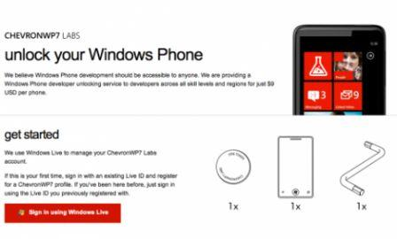 Unlock Windows Phone smartphone the official process is available online ChevronWP7