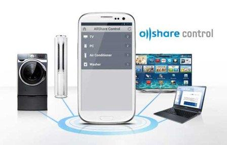 AllShare Control of Samsung is an application that creates a link between a Samsung smartphone or tablet, and a Samsung TV, a system of Samsung air conditioners a computer