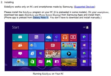 The Galaxy Note 3 appears on the application of Samsung SideSync