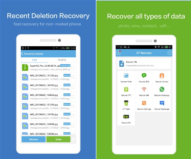 GT Recovery - Recover can recover all kinds of files, including contacts, compressed packages, videos, photos, SMS